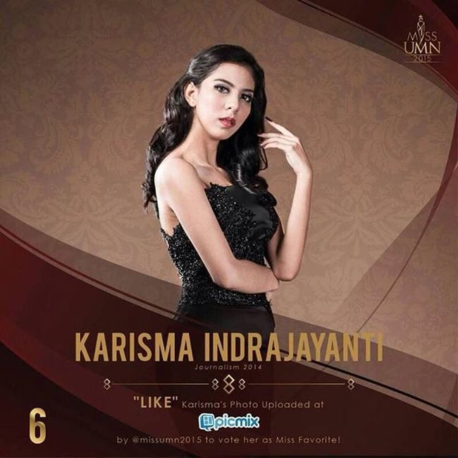 Repost from @karisjayanti Hi! Vote and support Miss Karisma, Journalism, 2014 as Miss Favorite of the Miss UMN 2015 by followig these steps : 1. Download Picmix Application from Playstore for Android or Apple store for iOS 2. Create your own account if you dont have and follow our official account @missumn2015 on Picmix, not Instagram 3. Fins Miss Karisma Indrajayanti's photo on our account and like the photo. Voting opens until November 13th, 2015. Remembers every voice counts! MissUMN2015 Thepowerofbeauty