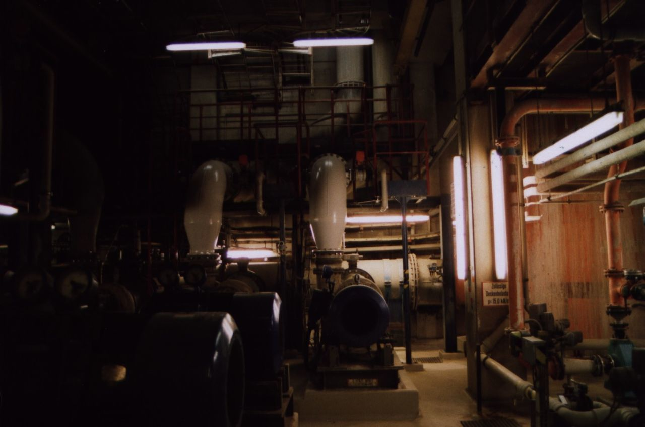 indoors, pipe - tube, factory, illuminated, warehouse, no people, day