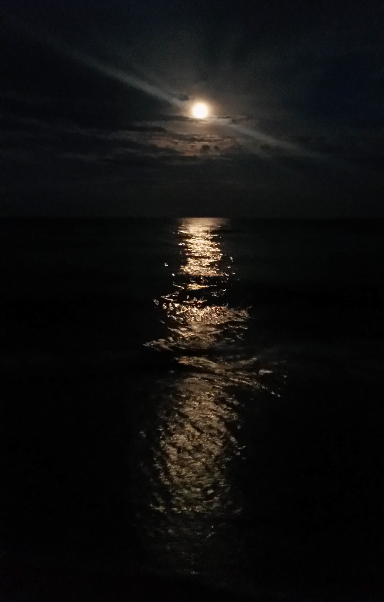 Beach Beauty In Nature Horizon Over Water Moon Nature Night No People Outdoors Reflection Scenics Sea Sky Sunset Tranquil Scene Tranquility Water