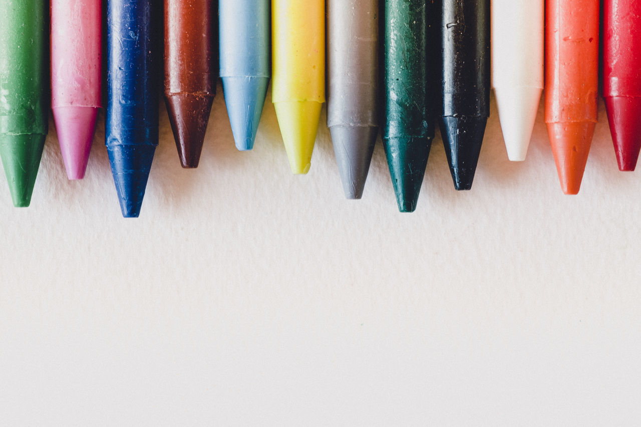 Abstract Abstract Photography Art Art And Craft Art, Drawing, Creativity ArtWork Backgrounds Black Close-up Colored Pencil Colorful Colors Copy Space Day Hanging In A Row Indoors  Multi Colored No People Paper Pencil Variation Vibrant Vibrant Color White Color