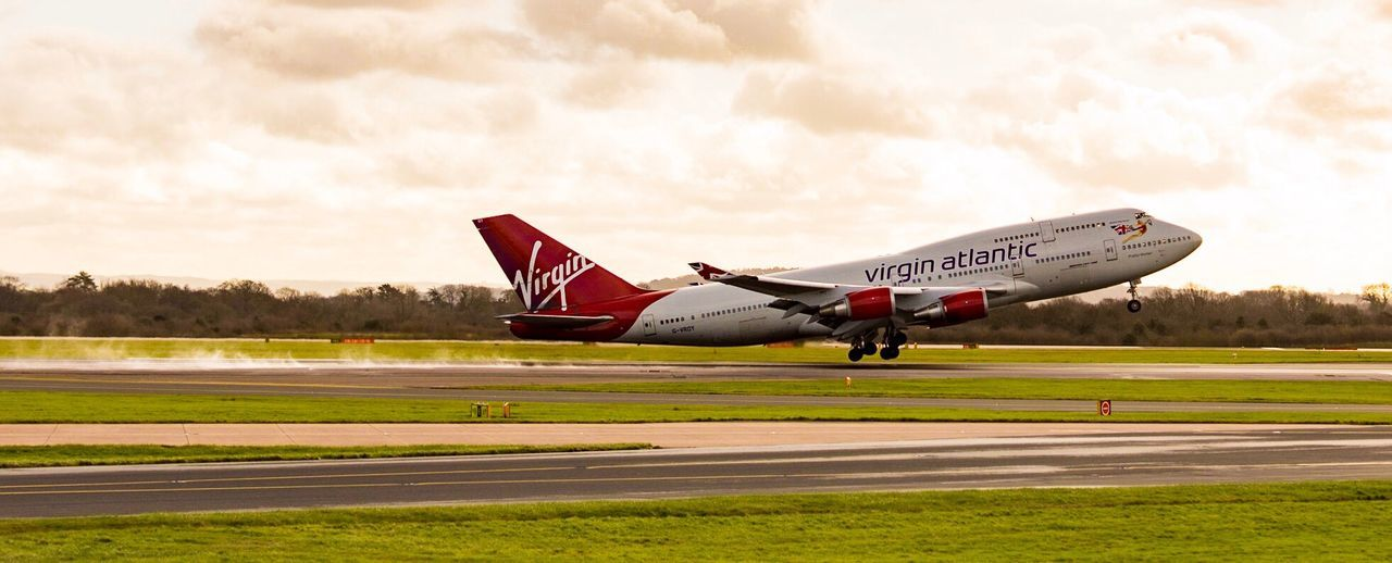 Motion Transportation Cloud Sky Air Vehicle Cloud - Sky Day Outdoors Getting Away From It All Vibrant Color Scenics Airplane Plane Aircraft Boeing 747 Virgin Atlantic