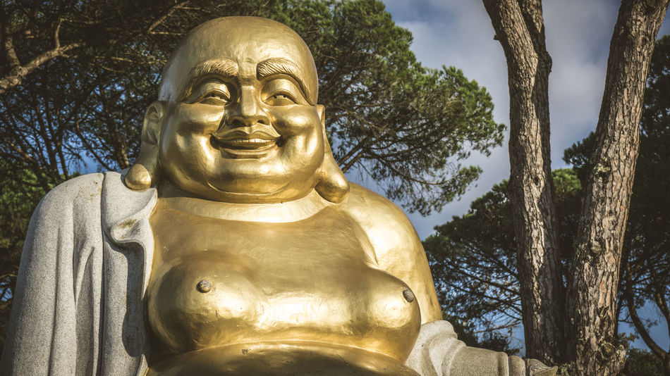 Buddha Buddha Eden Buddha Image Buddha Statue Cultures Day Gold Gold Colored Low Angle View Nasmgraphia No People Outdoors Peace Peace And Quiet Place Of Worship Relaxing Religion Spirituality Statue Tree