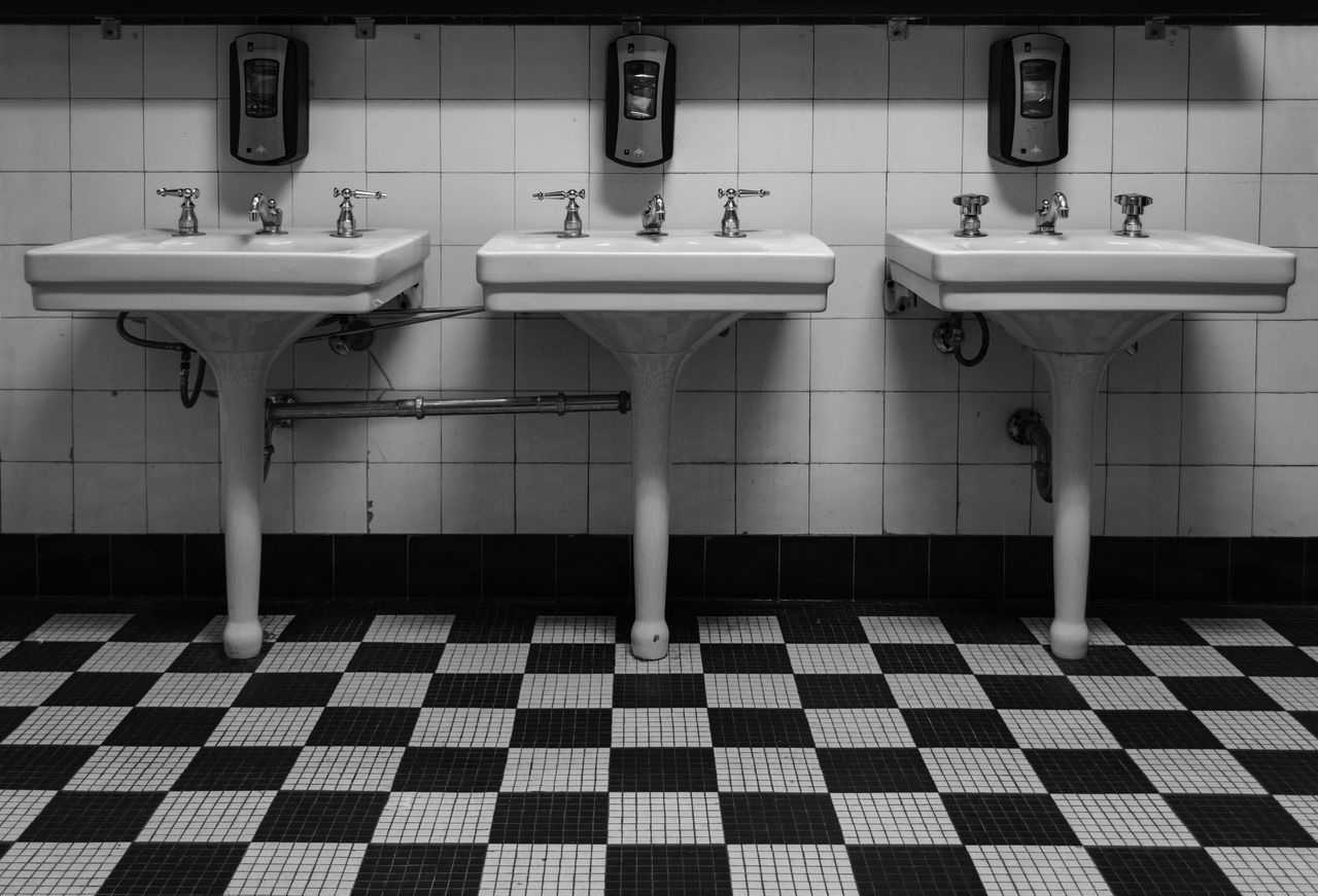 Art Deco Bathroom Black And White Blackandwhite Faucets Indoors  Old Pattern Repetition Restroom Retro Sinks Tile Tiled Floor Vintage Wall
