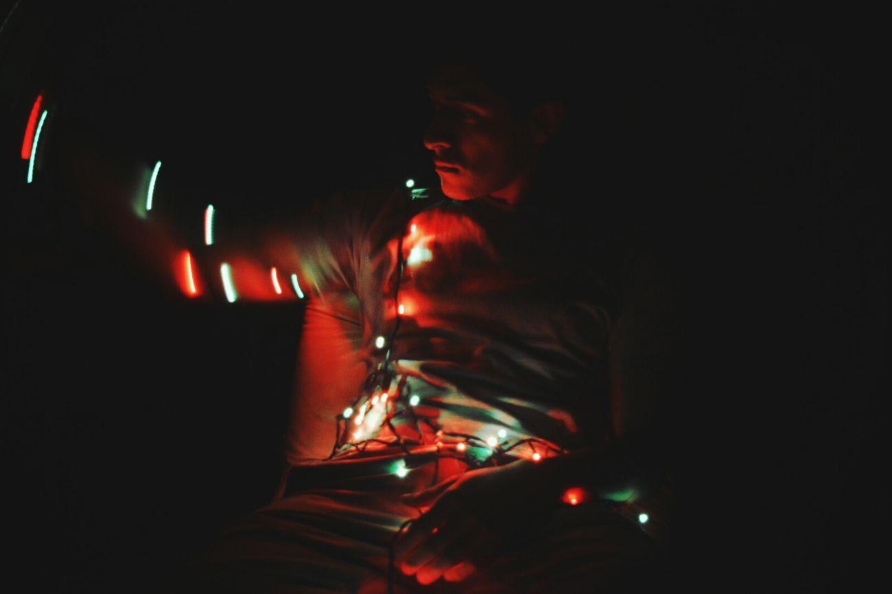 Alone Self Portrait Man Portrait Night Lights Luces De Navidad  Light Colors Light In The Darkness Tacna Tacna, Perú Peru