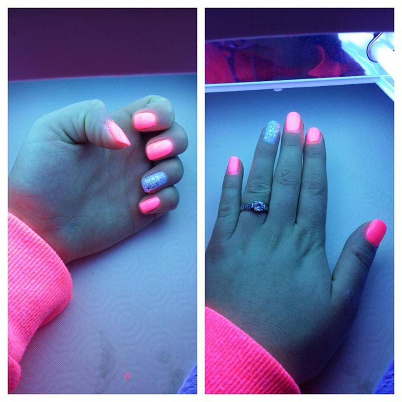 Ongles Strass Paillettes Blingbling Rosé Fluo