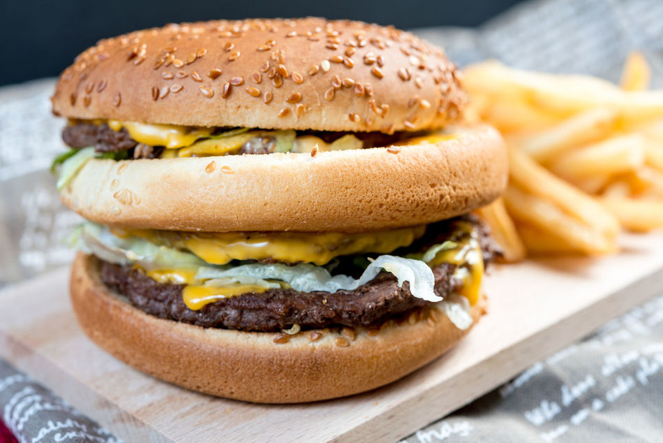 Barbecue Beef Bread Bun Burger Cheese CheeseBurger Fast Food Food Food And Drink French Fries Gourmet Grilled Hamburger Lettuce Meat Paper Prepared Potato Ready-to-eat Sesame Sesame Seed Table Take Out Food Unhealthy Eating Vegetable