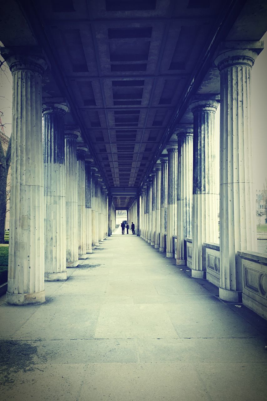 architecture, built structure, architectural column, diminishing perspective, the way forward, in a row, indoors, corridor, day, real people, one person, people