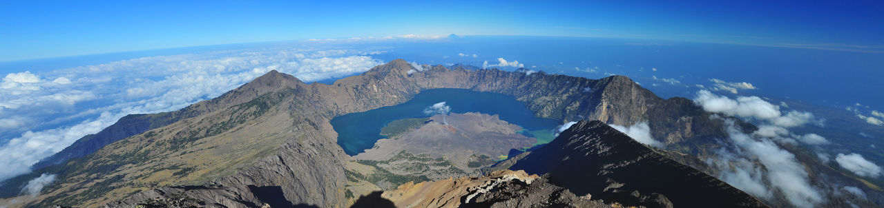 view panoramic from top Mt.Rinjani 3726M above the sea level Beauty In Nature Blue Day Hiking Hikingadventures Idyllic INDONESIA Mountains Landscape Lombok Lombok-Indonesia Mountain Mountains And Sky Mt.Rinjani Nature NTB Panorama Panoramic Rinjani Scenics Tourism Tranquil Scene Tranquility Travel Water The Great Outdoors - 2017 EyeEm Awards