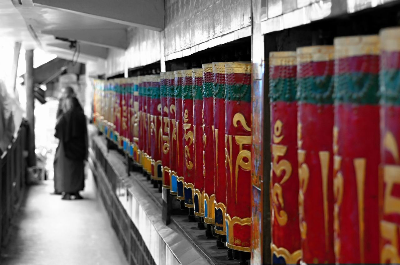 Buddha Colorkey Daramshala In A Row India Monk  People Prayer Wheels Protective Workwear Religion