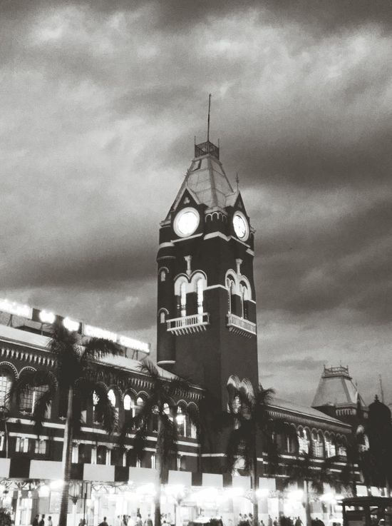 Architecture Sky Night Clock Tower Clock History Cloud - Sky Outdoors Travel Destinations Built Structure Building Exterior Illuminated City Clock Face Chennai Central Chennai,India Railway Station Evening Photography EyeEmNewHere Investing In Quality Of Life
