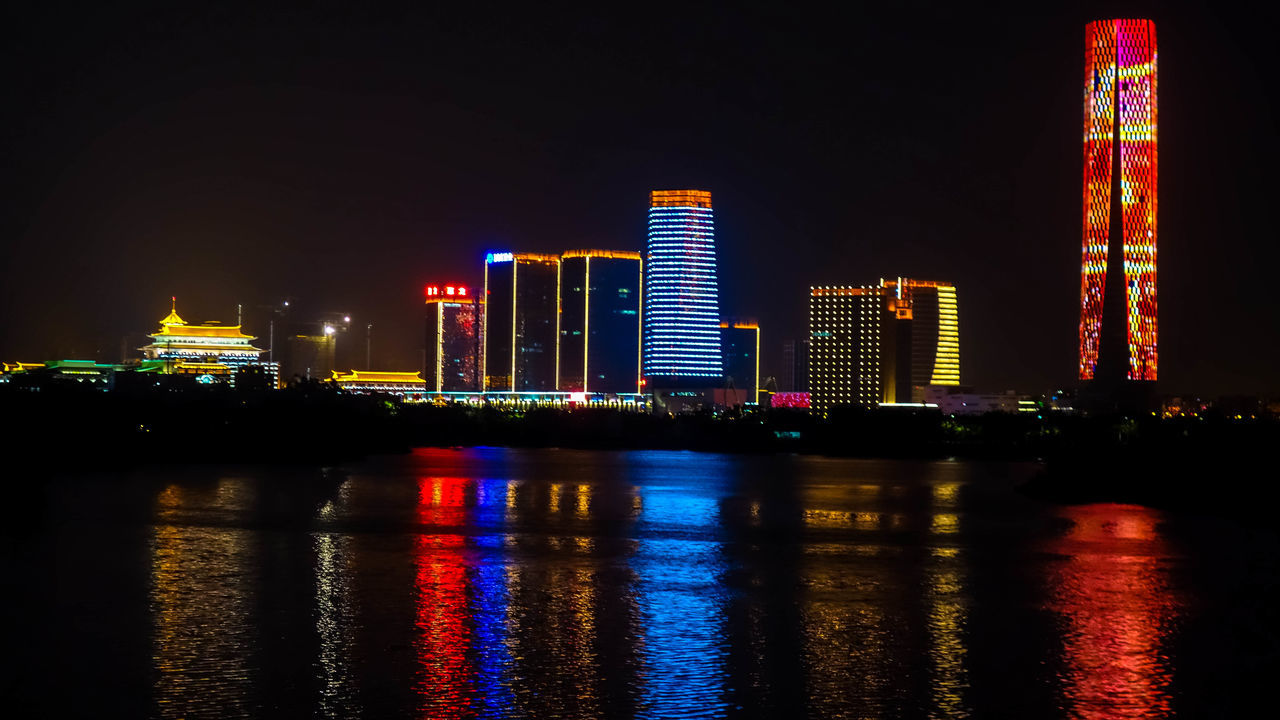 City Illuminated Architecture Reflection Skyscraper Night Urban Skyline Building Exterior Modern Cityscape Built Structure Nightlife Nightphotography Rx100 Outdoors Waterfront