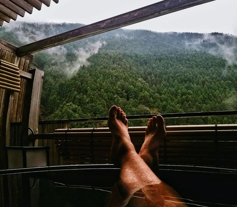 Relax Relaxing Bath Time Japan Water Human Body Part Human Leg Day Shikoku Landscape Mountain Best View Trees Outdoors Foot Taking Photos Taking Pictures Nature Oboke Miyoshi Giappone Vacations Look Clouds Recharge