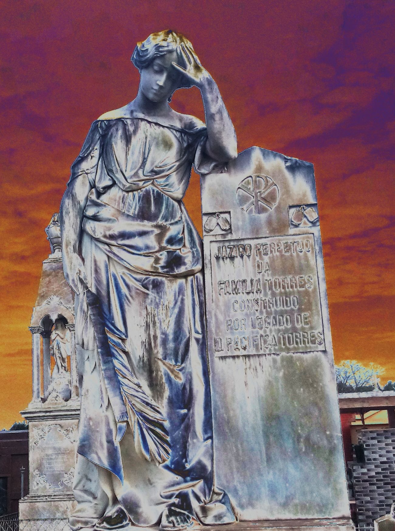 Cementery Statue Sky Clouds Sun Art Pyschedelic Colorful