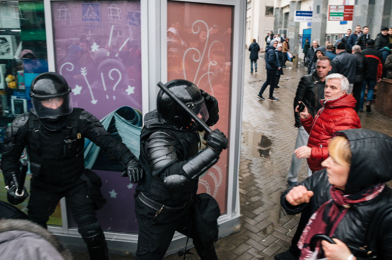 Minsk, Belarus - March 25, 2017 - Special police unit with shields against ordinary citizens and protesters. Belarusian people participate in the protest against the decree 3 Lukashenko and the current authorities. Active Activism Belarus Belarus Nature Citizen Demonstration People Police Police Force Protest Protesters Protesting Rally Reportage Riot Street Resist The Photojournalist - 2017 EyeEm Awards