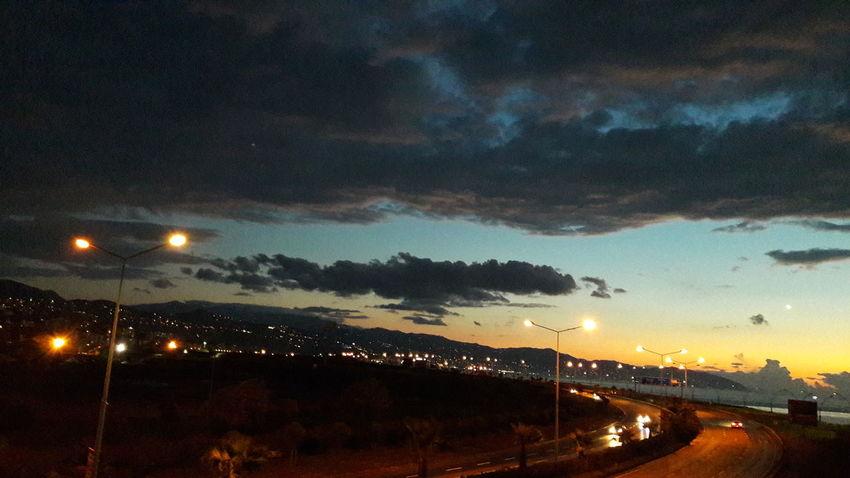 Night Cloud - Sky Sky Dramatic Sky Illuminated No People Outdoors Sunset Moon Nature City Beauty In Nature Scenics