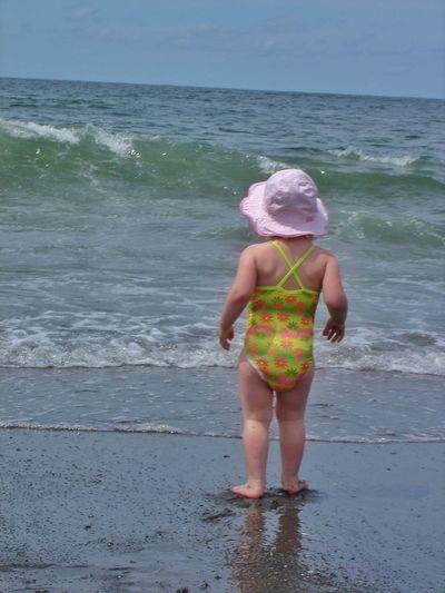 Child Baby Girl Beach Baby Kid Surf Ocean Beach Waves