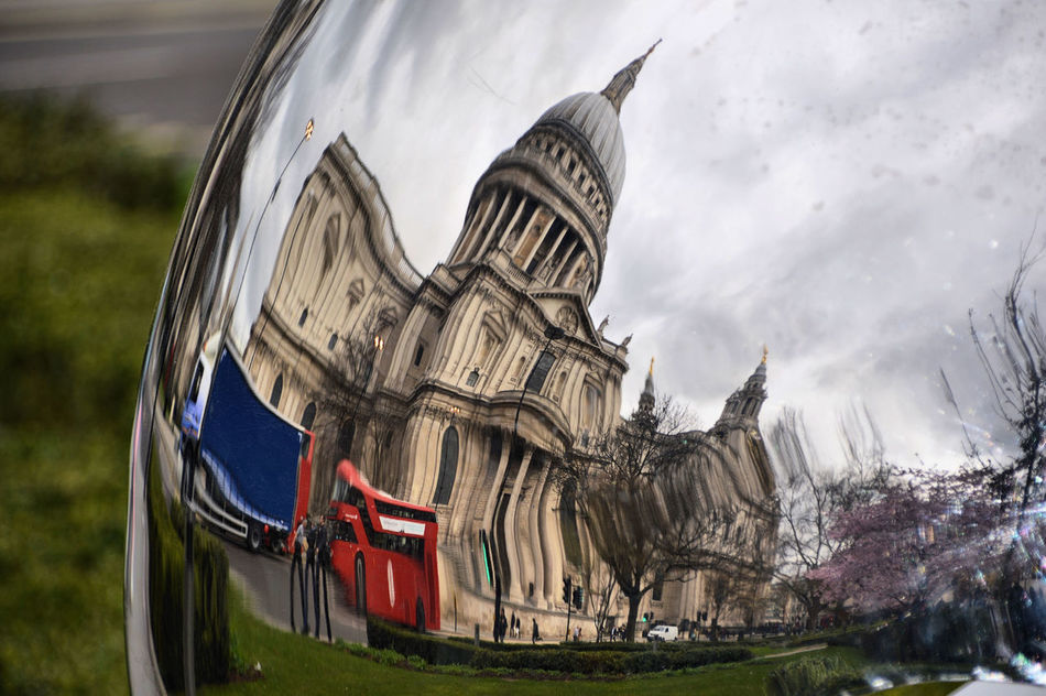 Architecture Building Exterior Cloud - Sky Day Londonbus No People Outdoors Reflection Sky StPaulscathedral