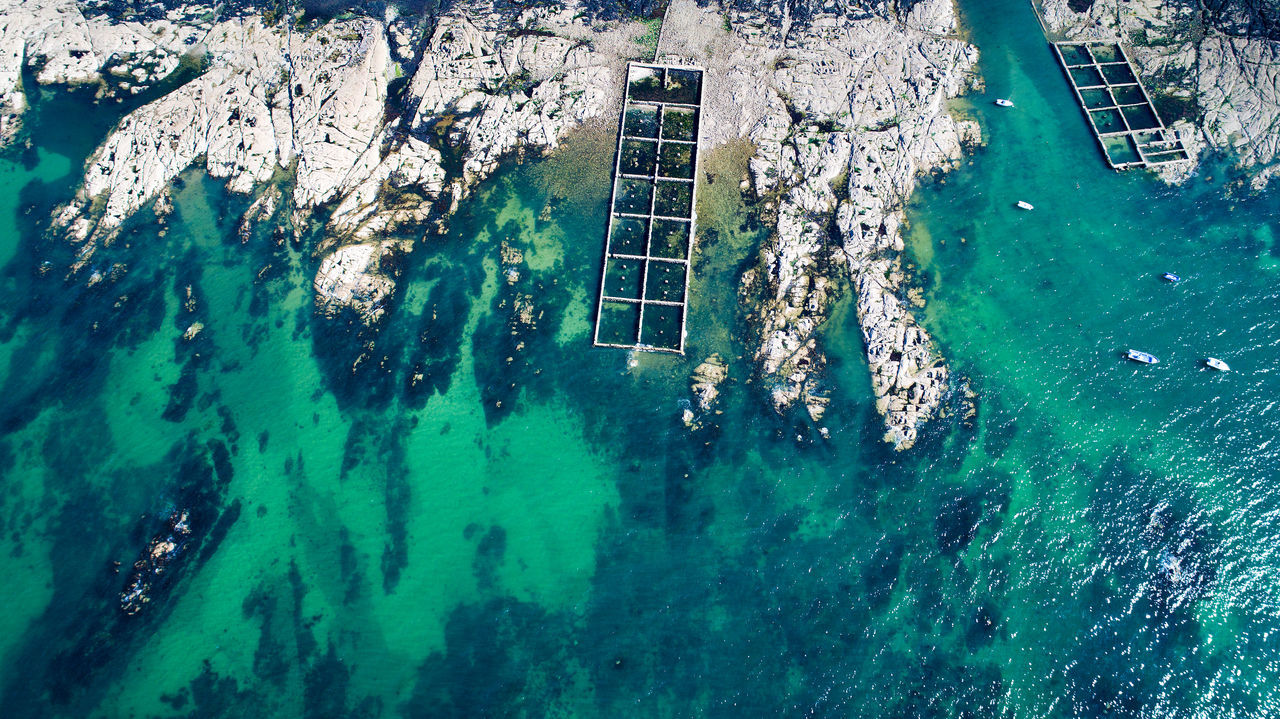 Aerial photography of ruins in Le Croisic bay, Loire Atlantique, France Aerial Photography Aerial View Atlantic Ocean Bay Boat Bretagne Coast Coastline Construction Crystal Clear Waters France French Brittany High Angle View Le Croisic Loire Atlantique Nautical Vessel No People Rade Rocks Ruins Sea Travel Destinations Turquoise Colored Water Reflections Waterfront