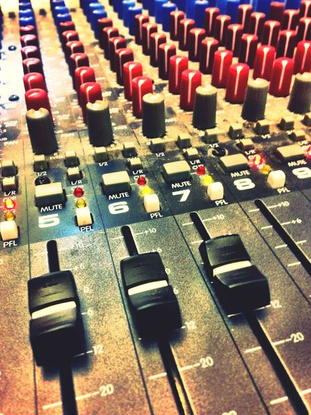 A sound mixing desk. Mixing Desk Sound Desk Dials Levels Switches Buttons Sliders Lights Sounds Knobs Technology