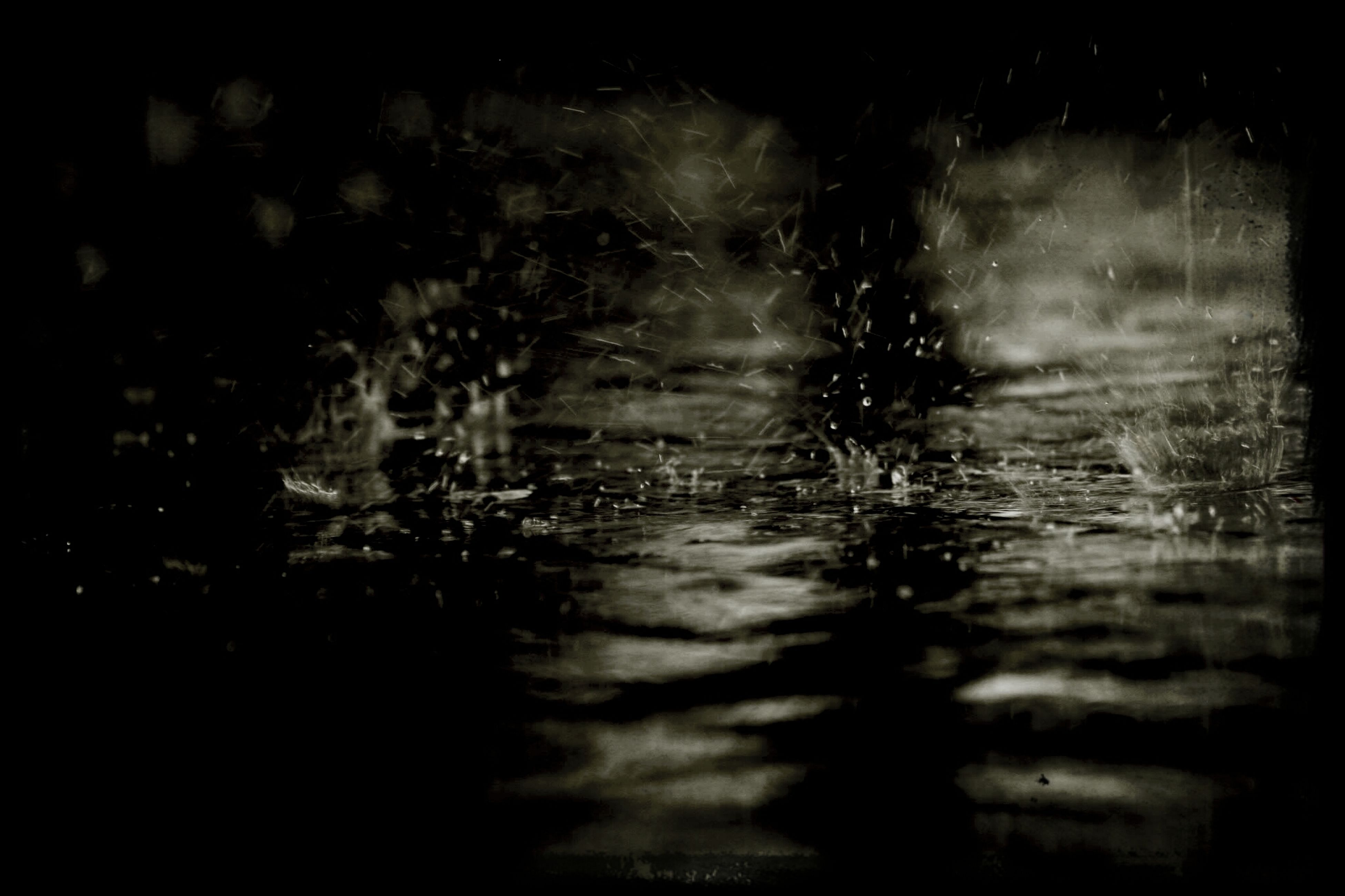 night, water, illuminated, rain, drop, wet, indoors, transparent, dark, window, reflection, weather, glass - material, light - natural phenomenon, nature, no people, raindrop, sky, season