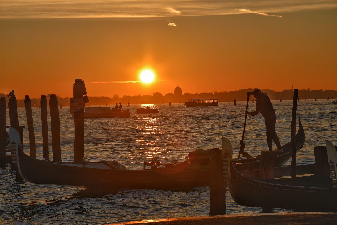 Sunset Sea City Outdoors Sky No People Scenics Nautical Vessel Nature Urban Skyline Water Beauty In Nature Cityscape Day Cloud - Sky Silhouette Summer Tranquil Scene Streetphotography Venice, Italy Gondole In Venice Sil
