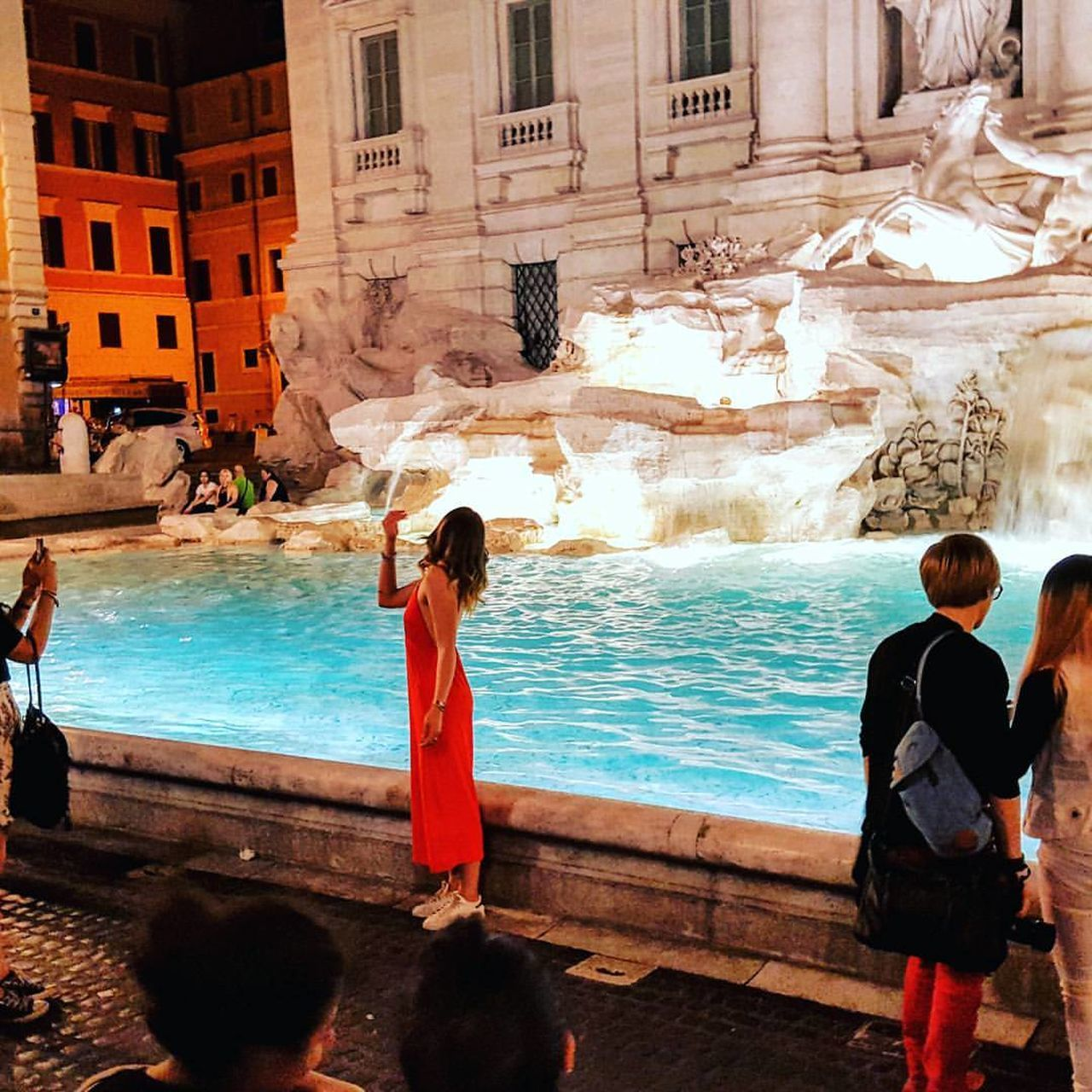 Water Travel Destinations Vacations Architecture Rome Italy TreviFountain Architectural Column Illuminated