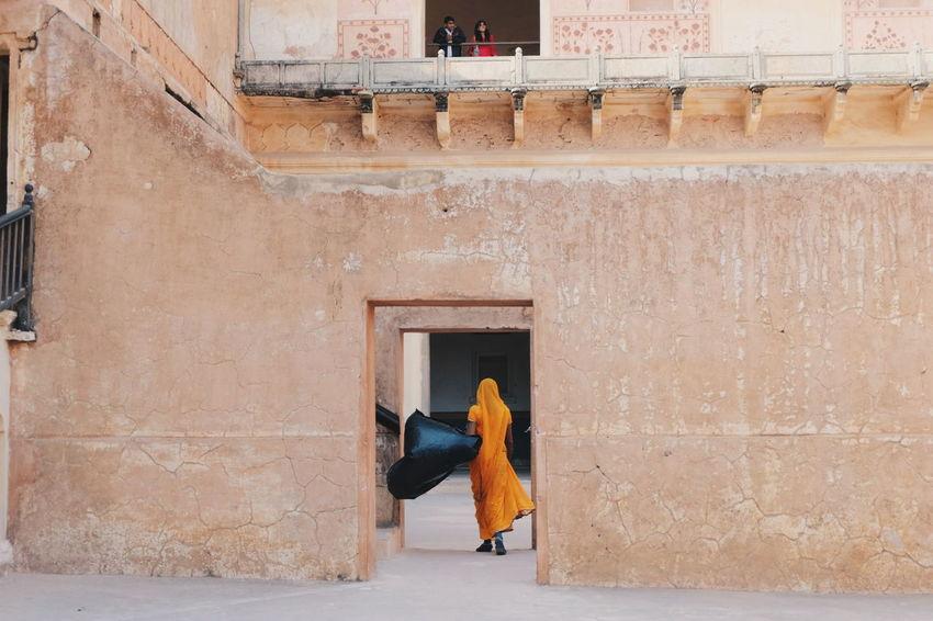 Lady in Sari.. (Jaipur, India) Travel Human India Reflect Rajasthan Sari Jaipur Yellow