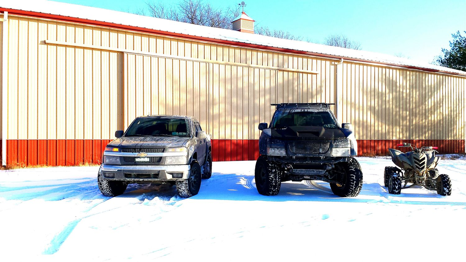 Snow day with the homies! 355nation Chevy Snow Sledding Truck Liftkit