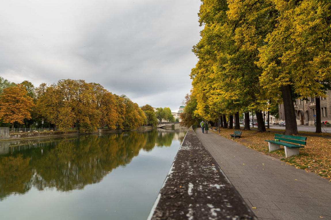 Beauty In Nature Bench City Dramatic Sky Fall Fall Beauty Fall Colors Germany Isar Munich Outdoors Reflection River Water
