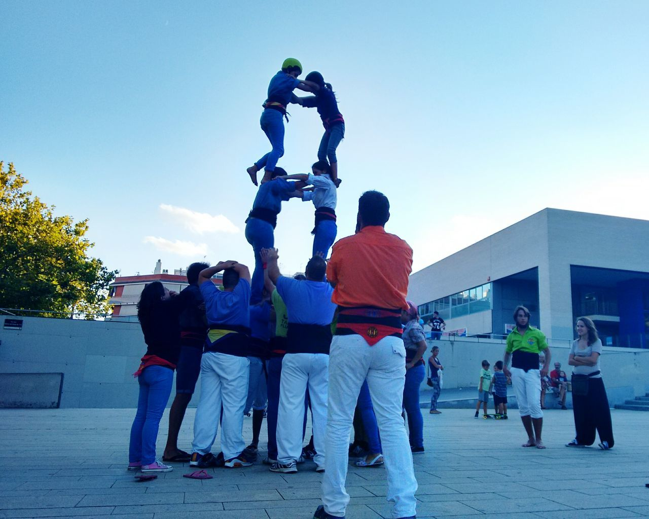Catalonia, Human Towers Person Viladecans Artist Castellers Outdoor Rafa Vázquez Catalonia Photography Barcelona Art Day Film People Horizontal Outdoors Adult Sky