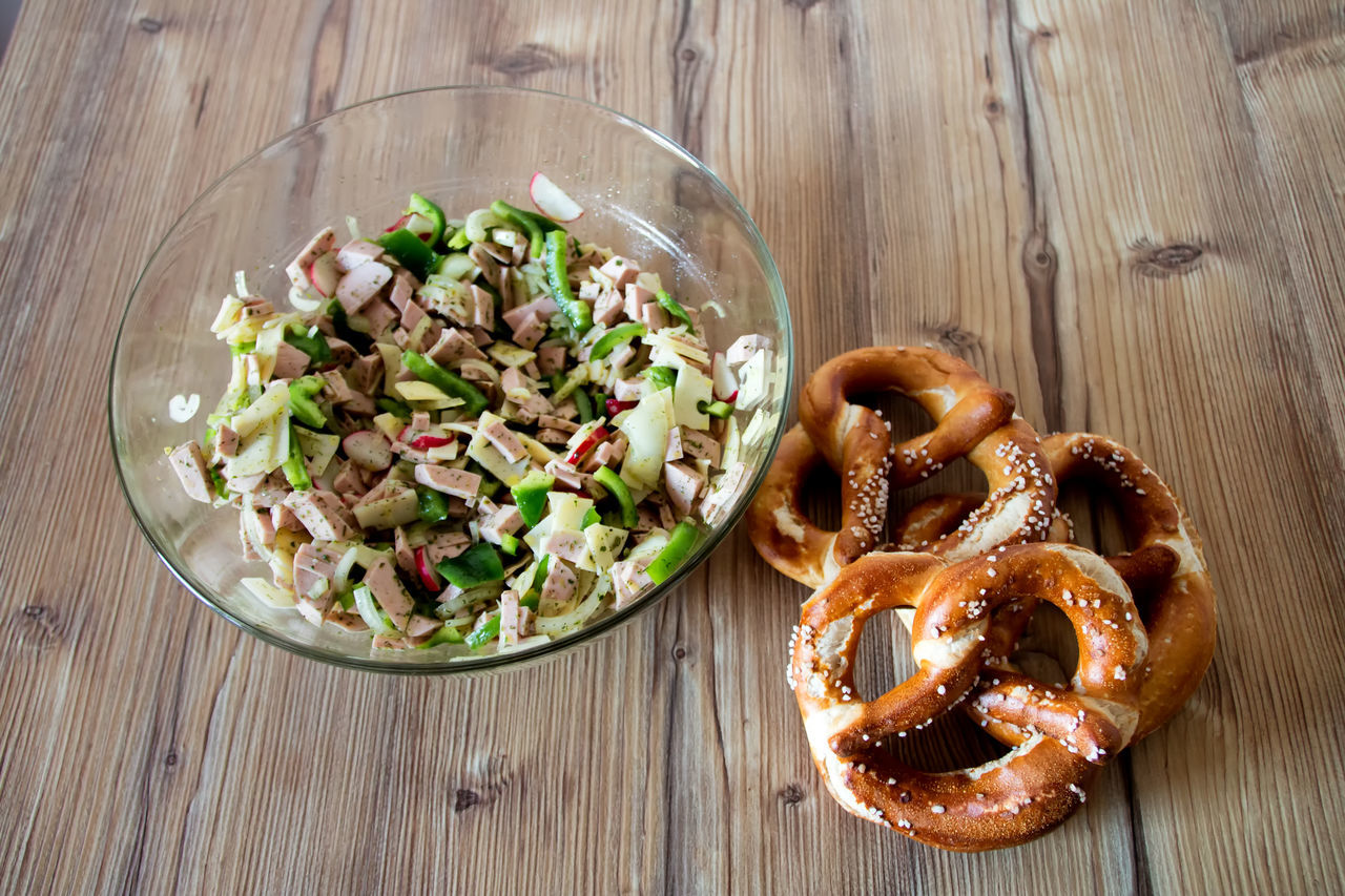 Bavaria Bowl Brezel Brotzeit Close-up Elevated View Food Freshness Indulgence Meal No People Pause Pretzels Ready-to-eat Salad Sausage Salad Served Serving Size Still Life Temptation