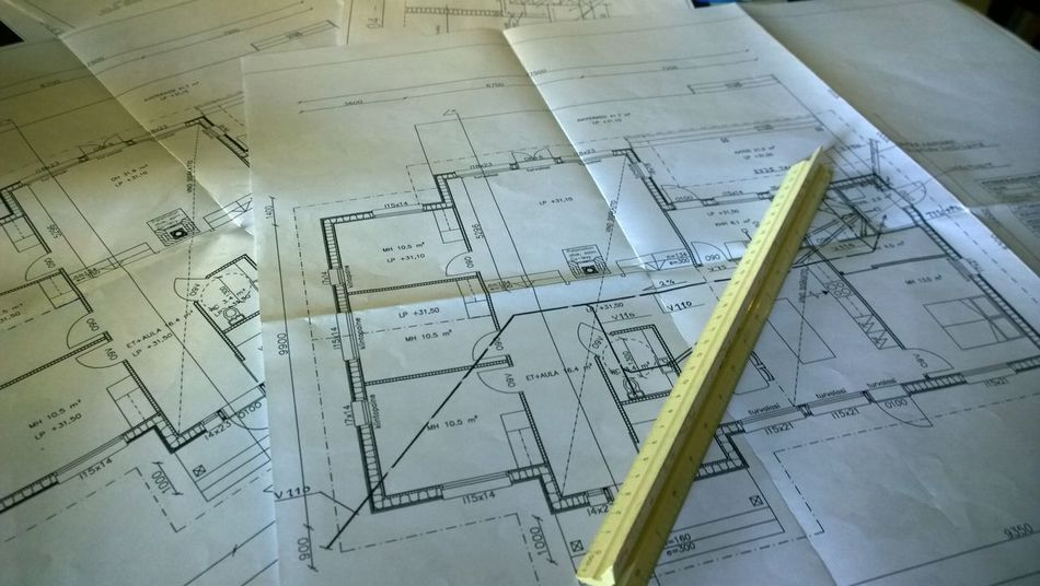 Architecture Blueprint Construction Industry Day Engineering Indoors  Industry No People Plan Planning Working