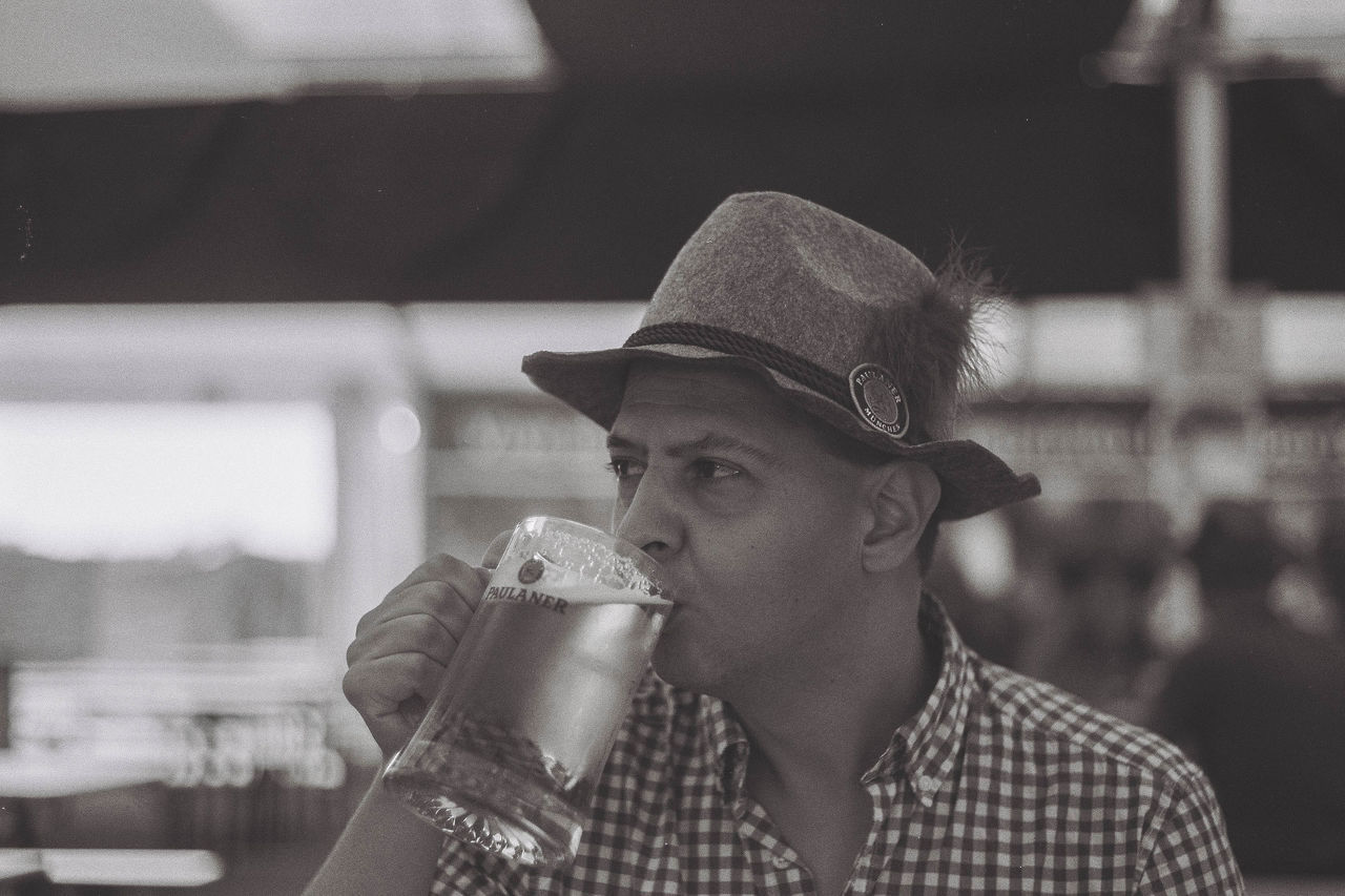 35mm 35mm Camera 35mm Film 35mmfilmphotography Analogue Photography Beer Black & White Blackandwhite Drinking Beer Film Film Photography Leica Leicacamera Leisure Activity Oktoberfest Portrait Monochrome Hat