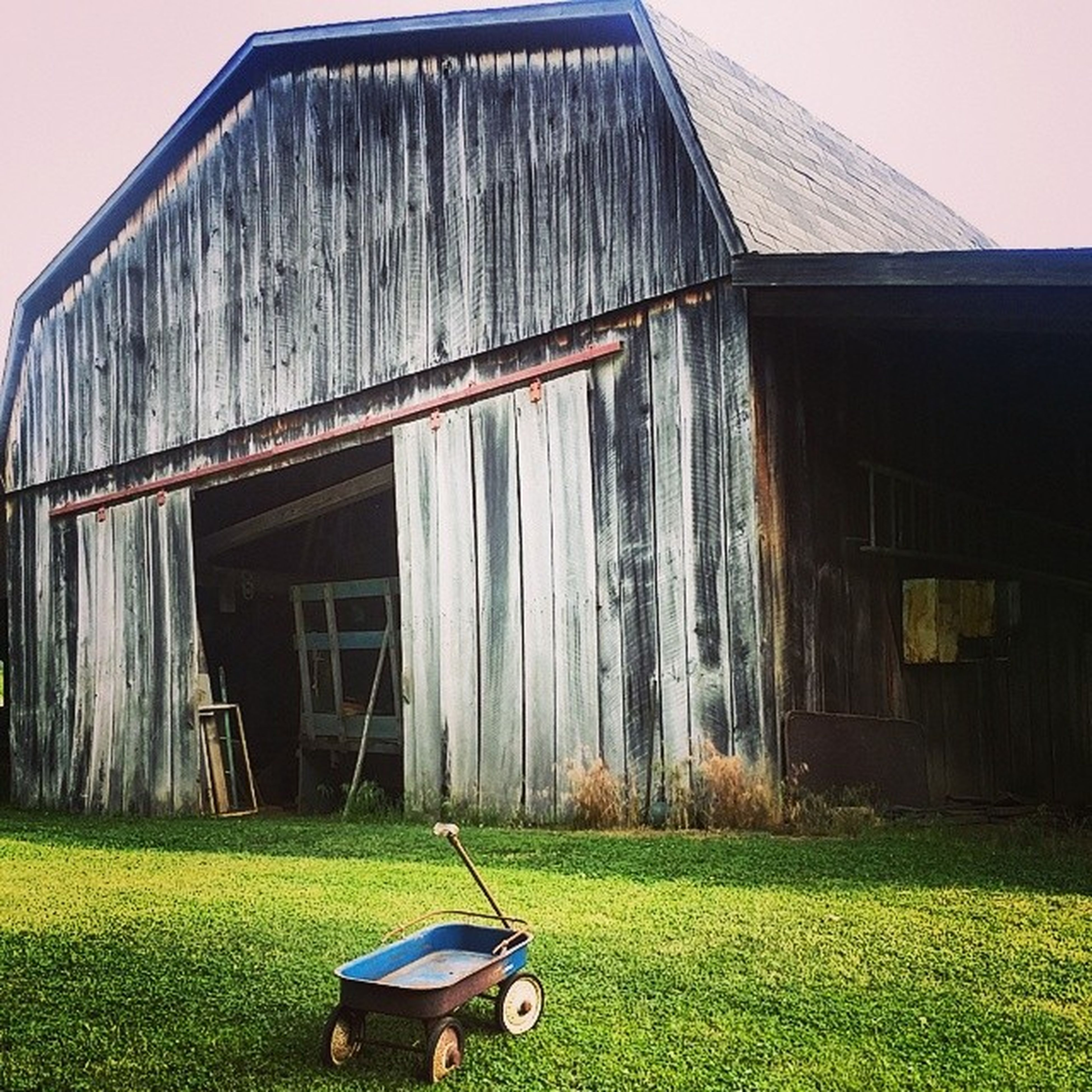 grass, building exterior, architecture, built structure, field, house, grassy, green color, mode of transport, sky, day, outdoors, transportation, abandoned, lawn, building, residential structure, barn, no people, window