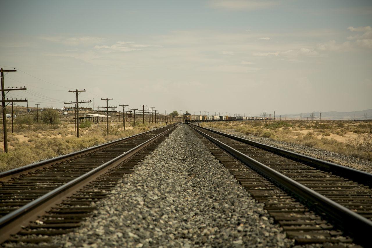 Desert Freight Train Freight Transportation Rail Transportation Railroad Track Transportation USA