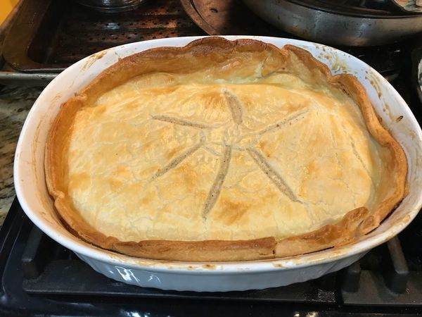 This is my famous homemade pot pie. Freshness Food Indoors  Baked Table Sweet Pie Apple Pie Savory Pie Dessert Close-up Sweet Food No People Homemade Baking Pan Ready-to-eat Day Pot Pie Cooking Eat Eating