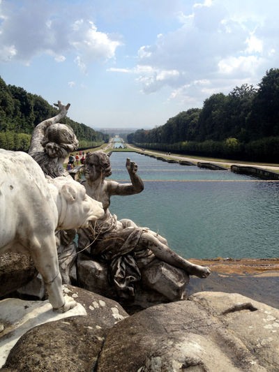 Reggia Di Caserta Caserta Italy Woman Sculptures Animal Sculpture Walking Around Water Hands Fountain Statues Outdoors Park Sculpture Palace Royal Waterway Cloud - Sky Animal Themes