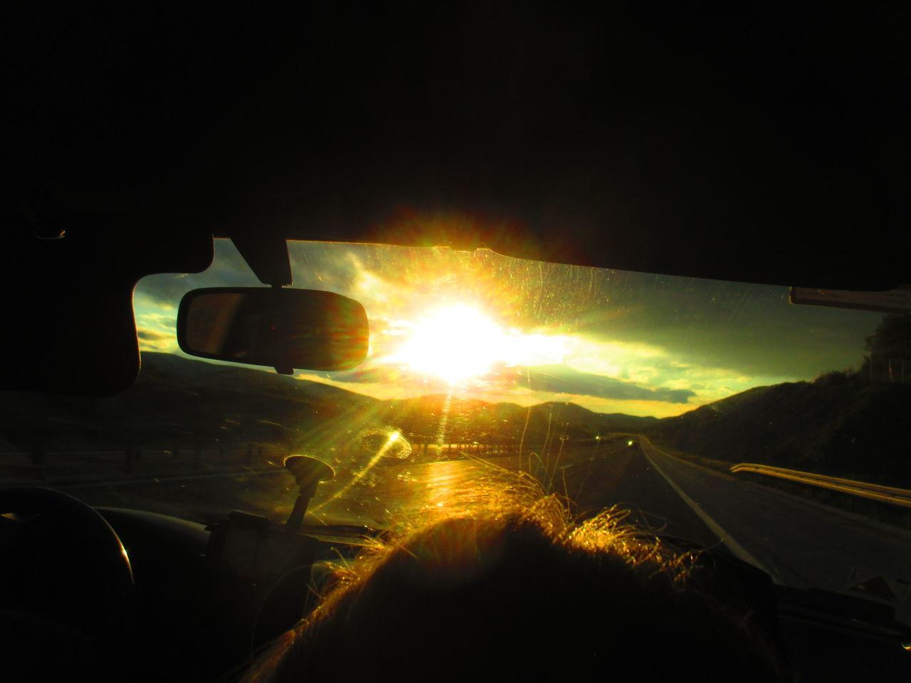 In Car Lens Flare Silhouette Sun Sunbeam Sunset