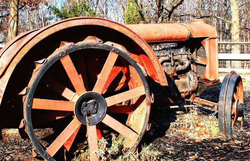 Wheel Old-fashioned History Wagon Wheel Field Tree Day No People Outdoors War Nature Steam Train Close-up Farmers Tool Old Tractor