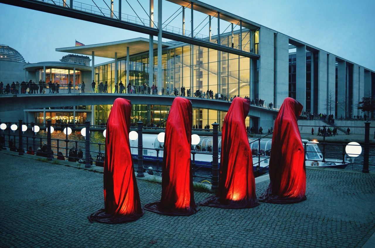 architecture, red, built structure, building exterior, day, outdoors, real people, sky