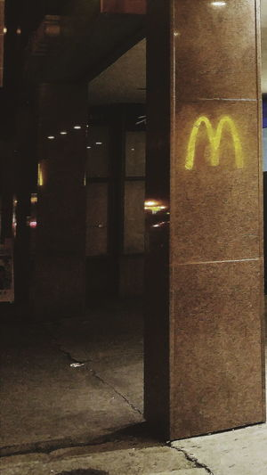 Building Exterior Illuminated Dark Outdoors Architectural Column No People Lightsgame Mcdonalds McDeez