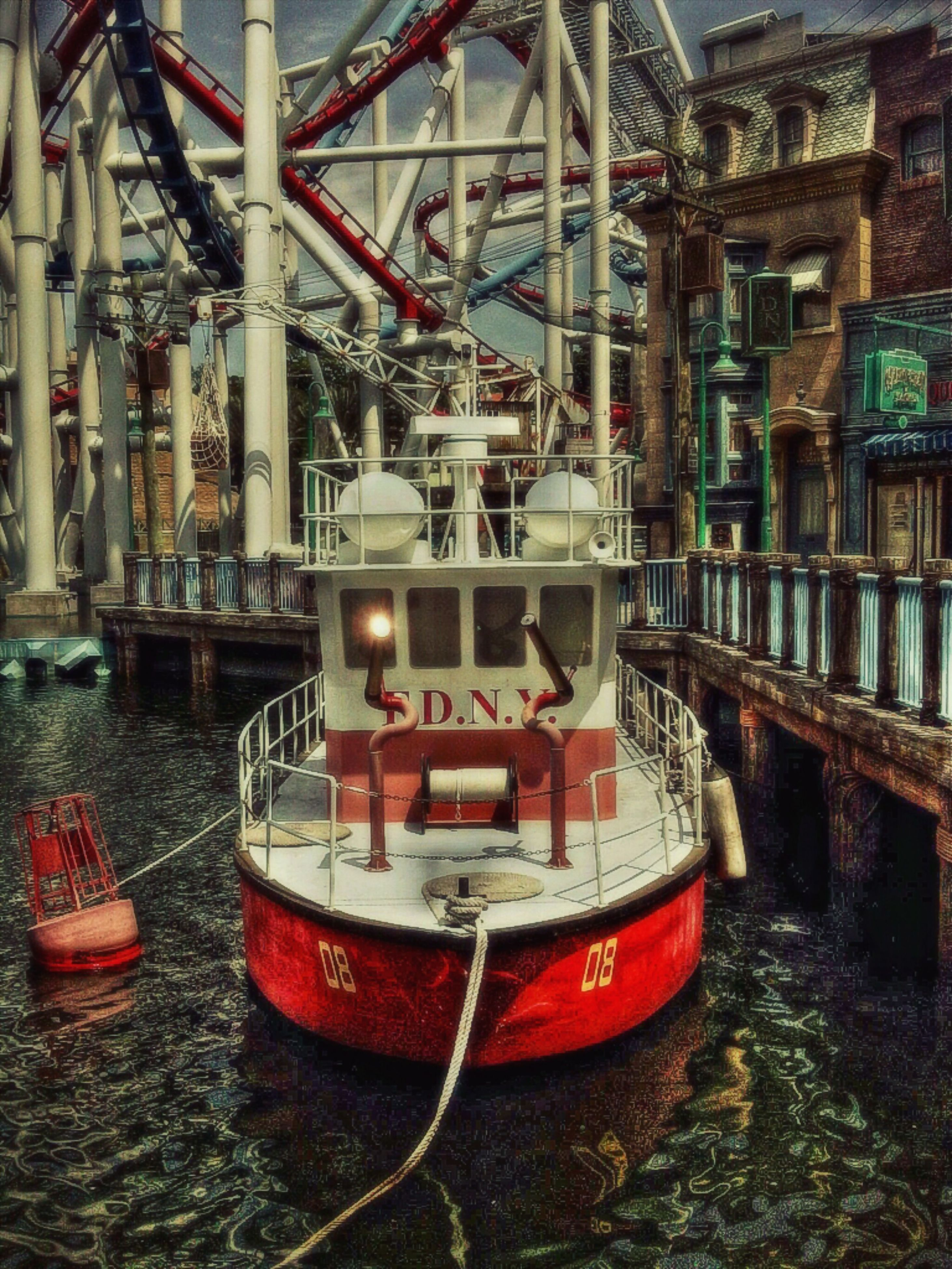 nautical vessel, water, transportation, boat, mode of transport, moored, built structure, architecture, building exterior, red, waterfront, river, reflection, day, outdoors, no people, rusty, harbor, old, ship