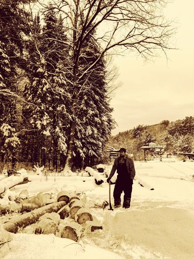 Winter Snow Cold Temperature Outdoors Tree Day Nature Standing People Real People Men Adult Sky Woodsman Axe Logs Pile Log Snow Laden Trees Snow Laden Limbs Snow Laden Tree Snowscape Snowy Snowy Days... Eyemphotography EyeEm Gallery