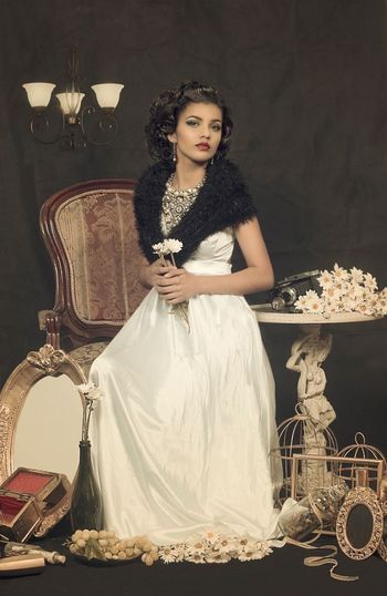 One Woman Only One Person Only Women Beautiful Woman Elégance Full Length Fashion Beautiful People Beauty Adults Only Indoors  Old-fashioned Glamour One Young Woman Only Luxury Gramophone Young Adult Necklace Evening Gown People