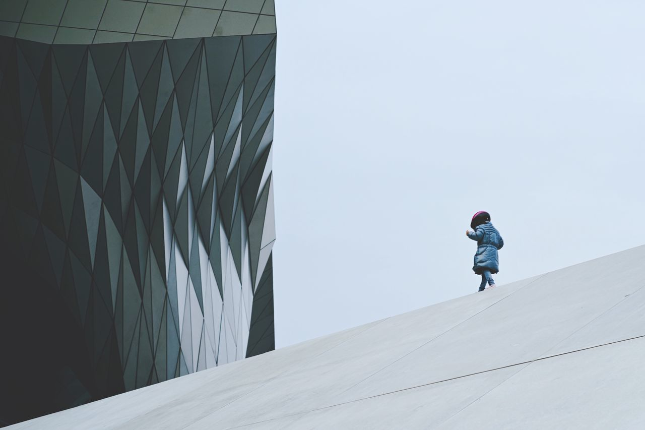 Minimalism Architecture Architectural Childhood Children Outdoors équilibre Confluences Museum Lyon Lyon Confluence Architecture And People Leisure Activity One Person Day Big And Small Scenery Street Photography Geometric Shape Lines And Shapes