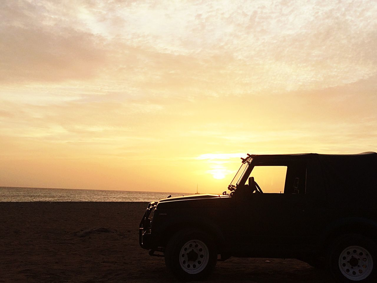 sunset, sky, transportation, nature, silhouette, sun, land vehicle, beach, sea, scenics, no people, beauty in nature, outdoors, day