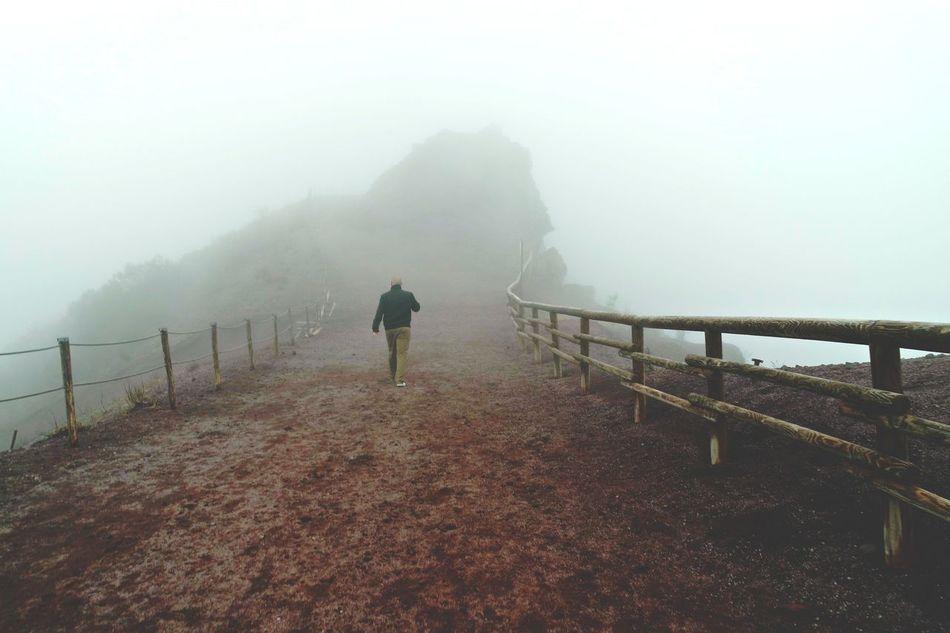 Cold Temperature Fog Foggy Landscape Mist Nature Real People Tranquil Scene Vesuvio Volcano Walking
