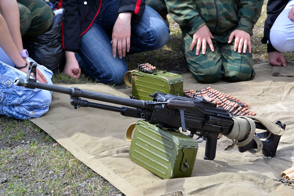 PK machine gun Ammunition Army Camouflage Clothing Day Gun Machine Gun Military Outdoors People PK Machine Gun Rifle Weapon Kalashnikov