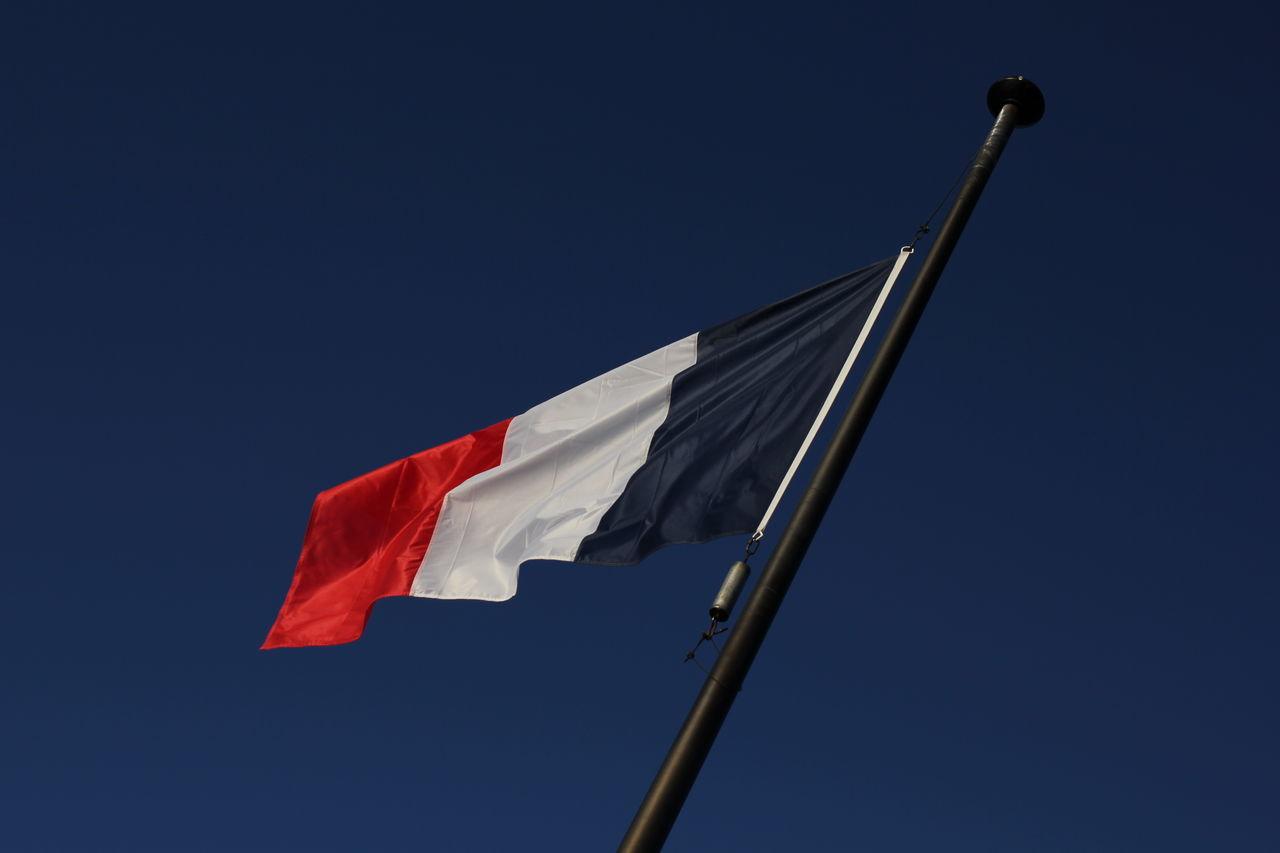 French Flag flying over Kayserberg castle Blue Blue Sky Flag Flag Flying Flag Pole France France Flag French Flag Red White