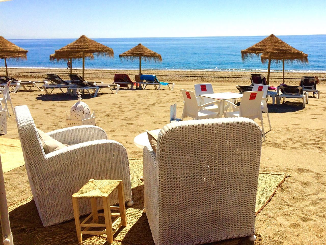 SPAIN Casares Costa Beach Sand Sea Shore Horizon Over Water Chair Water Summer Vacations Sun Lounger Outdoor Chair Canopy Incidental People Nature Relaxation Tranquility Outdoors Tranquil Scene Day Table